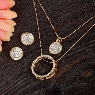 18K Gold Filled Austrian Crystal Circles Jewelry Set Pendant 48cm Necklace Stud Drop Earrings