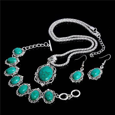 Vintage Tibetan Silver &amp;amp; Turquoise Necklace Bracelet Earrings Jewelry Sets for WomenJewelry Sets<br>Vintage Tibetan Silver &amp;amp; Turquoise Necklace Bracelet Earrings Jewelry Sets for Women<br>