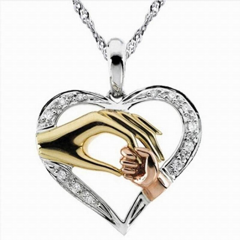 """Real Pure Sterling Silver """"Mother and Child Hand In Hand"""" Pendant Necklace Gift for Mother Daughter Sister Grandmother Friends Jewelry"""