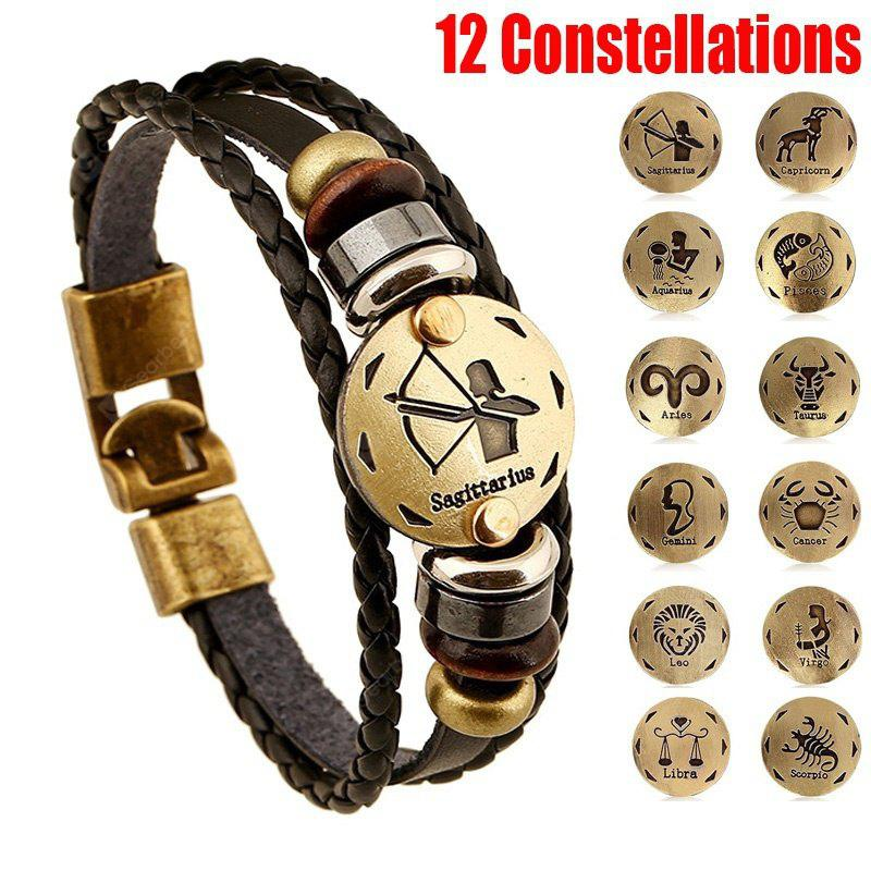 New Style 12 Constellations Multi-layer Leather Cuff Chain Lucky Charm Bracelet Fashion Jewelry for Women and Men Bronze Alloy Buckles Multi-Layers Bracelets Casual Personality Vintage Punk Black Brac