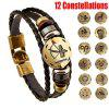 New Style 12 Constellations Multi-layer Leather Cuff Chain Lucky Charm Bracelet Fashion Jewelry for Women and Men Bronze Alloy Buckles Multi-Layers Bracelets Casual Personality Vintage Punk Black Brac - BLACK