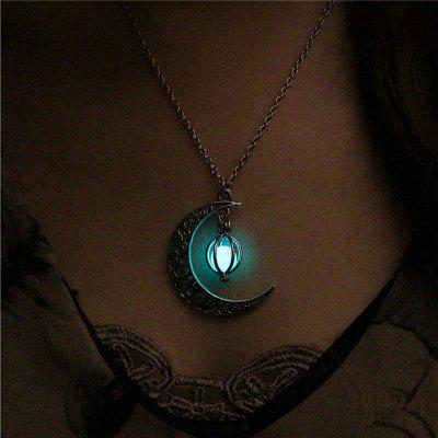 Moon Glowing Necklace,Turquoise Charm Jewelry,Silver Plated,Halloween Gifts