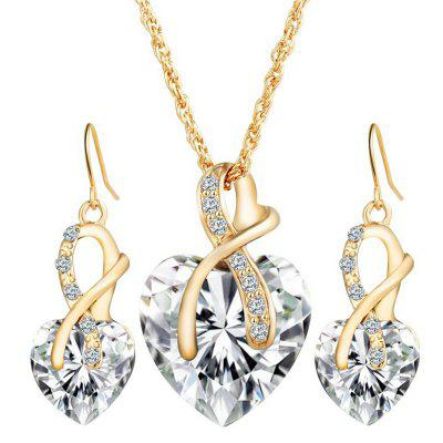 Gold Plated Jewelry Sets For Women Crystal Heart Necklace Earrings Jewellery Wedding Accessories