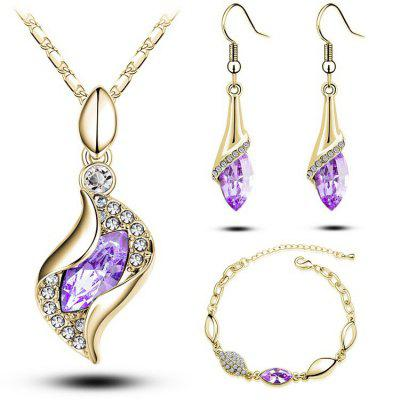 MODA Elegant Luxury Design New Fashion 18k Rose Gold Plated Colorful Crystal Drop Jewelry Sets Women Gift