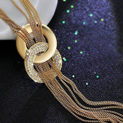 Women Rhinestone Metal Pendant Chain Statement Jewelry Long Tassel Sweater Bib Necklace old antique bronze doctor who theme quartz pendant pocket watch with chain necklace free shipping