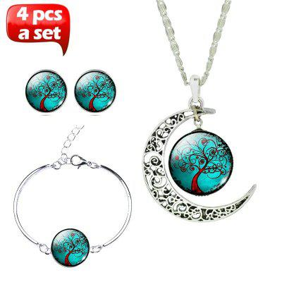 Glass Cabochon Necklace & Earrings & Bangle Set(Totally 4 pcs) Colorful Life Tree Art Picture Pendant Statement Chain Crescent Moon Necklace Stud Earrings Bracelet Bangle Set for Women's J