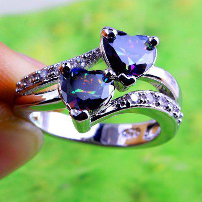 lingmei Fashion Lover Jewelry Heart Cut Rainbow &amp;amp; White Topaz Gemstone Silver Ring Size 5 6 7 8 9 10 11 12 13Jewelry Sets<br>lingmei Fashion Lover Jewelry Heart Cut Rainbow &amp;amp; White Topaz Gemstone Silver Ring Size 5 6 7 8 9 10 11 12 13<br>