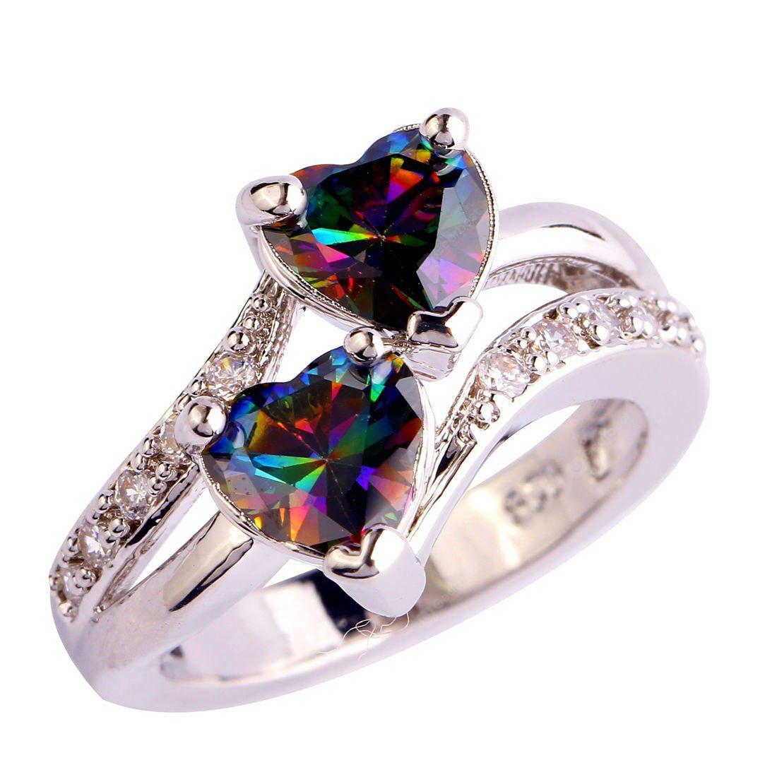 lingmei Fashion Lover Jewelry Heart Cut Rainbow & White Topaz Gemstone Silver Ring Size 5 6 7 8 9 10 11 12 13