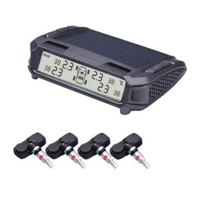 TPMS Solar Power Tire Pressure Monitoring System Monitor with 4 Internal Sensors Wireless LED Display Pressure and Tempe