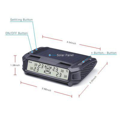 TPMS Solar Power Tire Pressure Monitoring System Monitor with 4 Internal Sensors Wireless LED Display Pressure and TempeReversing radar<br>TPMS Solar Power Tire Pressure Monitoring System Monitor with 4 Internal Sensors Wireless LED Display Pressure and Tempe<br><br>Brand: WINVE<br>Color: Black<br>Identification: CE,RoHs,FCC<br>Material: Plastic<br>Model: T188B<br>Package Contents: 1 * Tire Pressure Monitor 4 * Tire Pressure Internal Sensor 4 * TPMS sticker 1 * Anti-slip Mat 1 * User Manual<br>Package size (L x W x H): 22.00 x 18.00 x 4.80 cm / 8.66 x 7.09 x 1.89 inches<br>Package weight: 0.5000 kg<br>Product size (L x W x H): 8.20 x 5.20 x 2.20 cm / 3.23 x 2.05 x 0.87 inches<br>Product weight: 0.4500 kg<br>Type: Signal Loss Alarm, Monitor Alarm, Strobe Warning Light<br>Voltage: 5V<br>Waterproof: IP67<br>?????????????: None