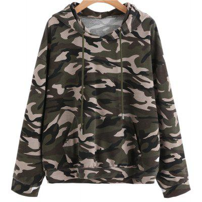 Buy ARMYGREEN M Camouflage Large Length Sleeve Hoodie for $23.37 in GearBest store