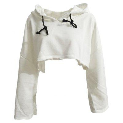 Buy WHITE L Long Sleeve White Hoodie for $20.12 in GearBest store