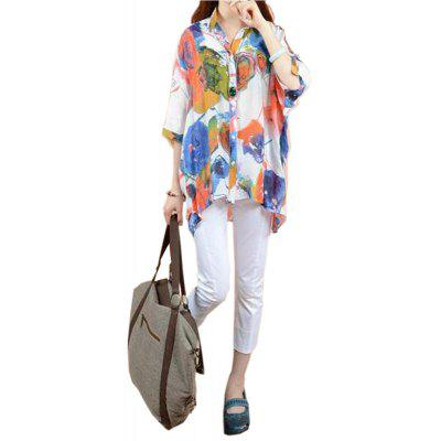 Buy FLORAL XL Printed Bat Sleeve Loose Sun Shirt for $16.02 in GearBest store