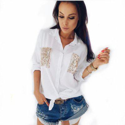 Buy WHITE L Long Sleeved Shirt with Lapel for $17.05 in GearBest store