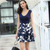 Sexy V Neck Sleeveless Women'S Dress Print Dress - BLUE
