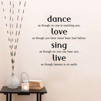 DSU Wall Sticker Dance Love Sing Live Art Quotes Bedroom Living Room Decal  ...