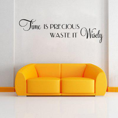 DSU Time Is Precious Waste It Wisely Quote Vinyl Wall Sticker For Kids Room