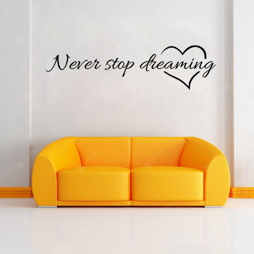 DSU Never Stop Dreaming Famous Words and Encourage with Heart Wall Sticker