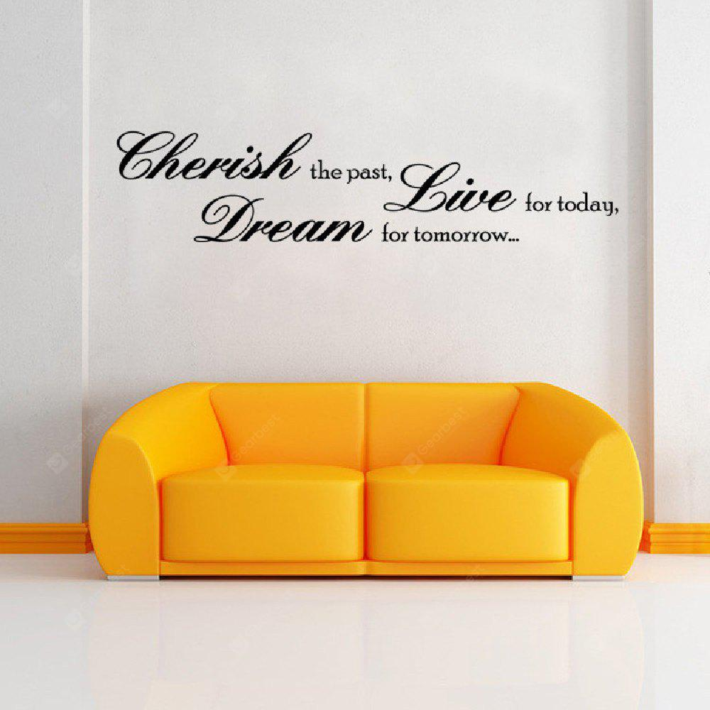 DSU Cherish the Paste Dream Tomorrow Live Today Quotes Wall Sticker Living Room Bedroom Decoration Home Decor