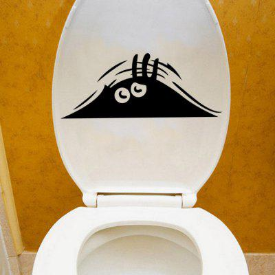 Peeping  Eyes Vinyl Removable Toilet Stickers Washroom Toilet Decals