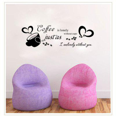 AW9072 Coffee English Living Room Creative Decorative Wholesale Removable Wall Sticker