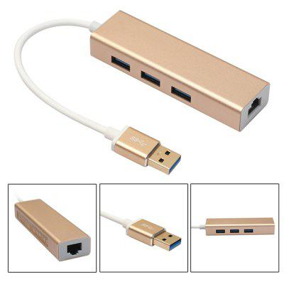 USB 3.0 to 3 Port USB 3.0 HUB with RJ45 Gigabit 100Mbit  Ethernet Aluminum