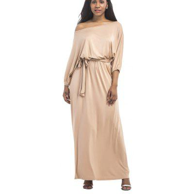 Buy KHAKI 2XL New Sexy One Word Collar Band Dress for $32.55 in GearBest store