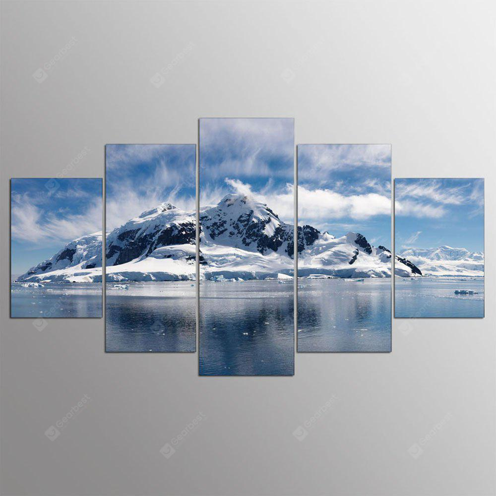YSDAFEN 5 Panels Snow Mountain Landscape Modern Home Wall Decor Picture for Living Room