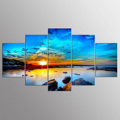 YSDAFEN HD Print 5 Pcs Art Sunrise Sea Beach Painting Home Wall Decor