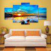 YSDAFEN HD Print 5 Pcs Art Sunrise Sea Beach Painting Home Wall Decor - COLORMIX