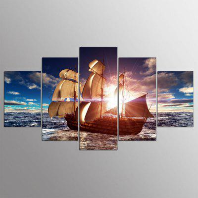 YSDAFEN 5 Panel Modern Canvas Prints Sea Boat Sunset Beach Seascape Wall Picture for Living Room