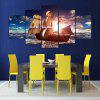 YSDAFEN 5 Panel Modern Canvas Prints Sea Boat Sunset Beach Seascape Wall Picture for Living Room - COLORMIX