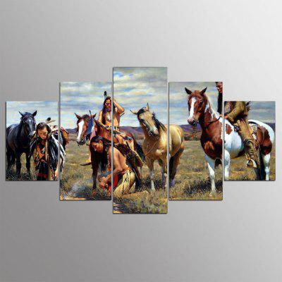 YSDAFEN 5 Panel American Native Tribes Indian Canvas Painting Wall Art Picture Home Decoration Living Room