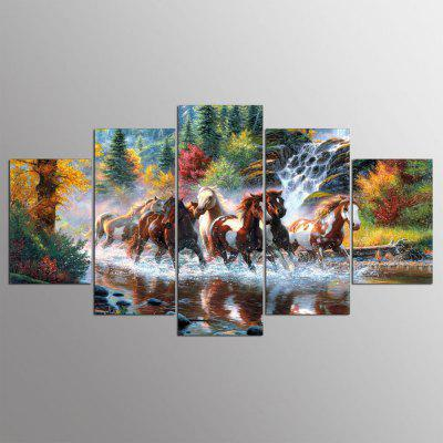 YSDAFEN 5 Panel Modern The Horses Hd Canvas Paintings for Living Room Wall Picture
