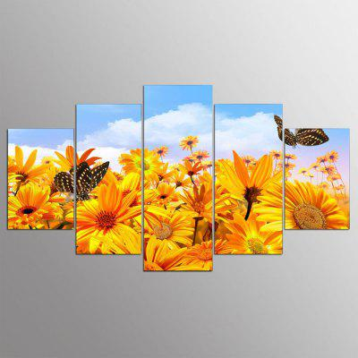 YSDAFEN 5 Panel Modern Yellow Flowers with Butterfly Hd Art Canvas Print Art for Living Room
