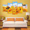 YSDAFEN 5 Panel Modern Yellow Flowers with Butterfly Hd Art Canvas Print Art for Living Room - COLORMIX