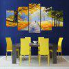YSDAFEN 5 Panel Modern Golden Road Canvas Art Wall Framed Paintings for Living Room - COLORMIX