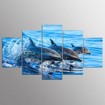 YSDAFEN 5 Piece Blue Ocean Jumping Dolphin Wall Pictures for Living Room