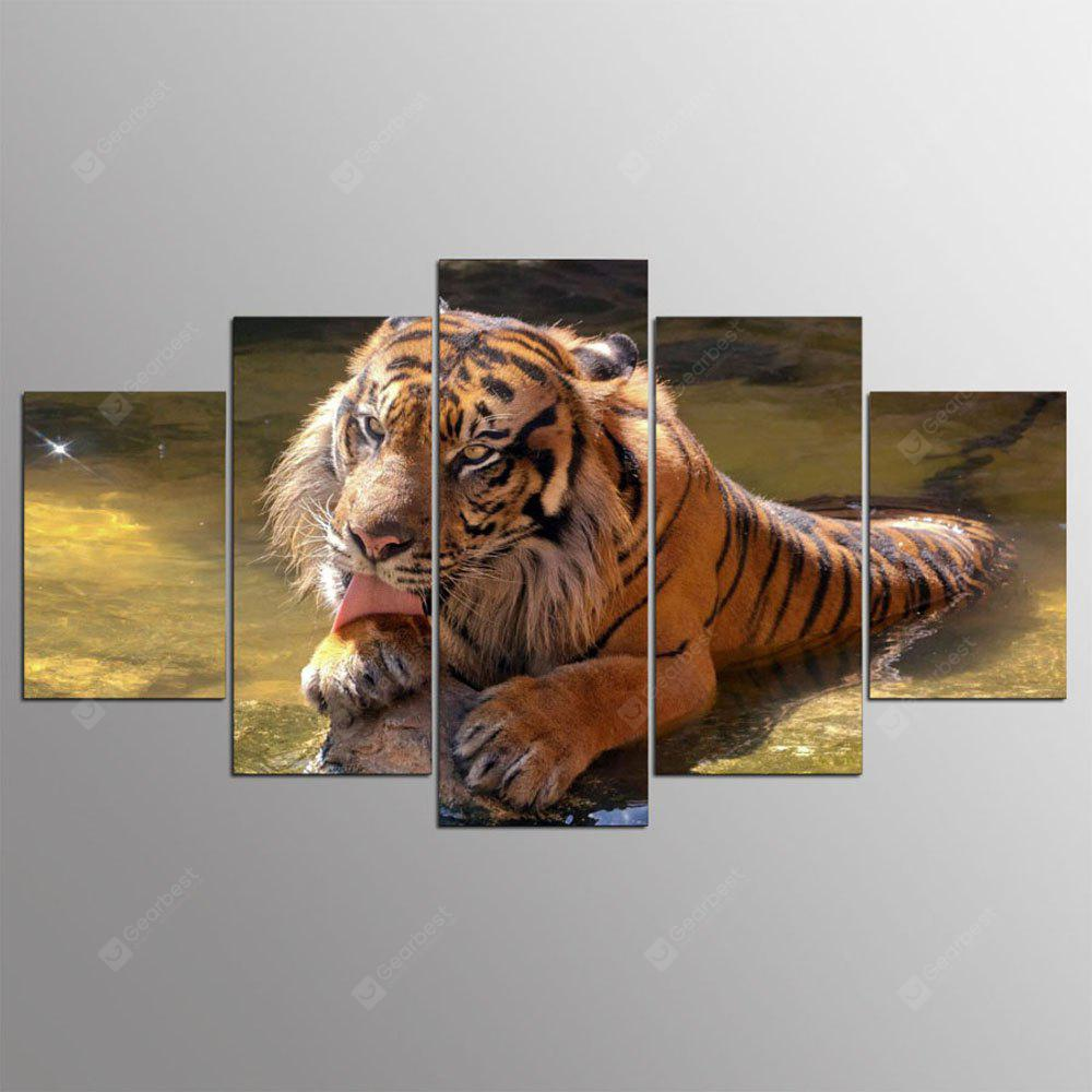 YSDAFEN HD Printed 5 Piece Sumatran Tiger Wall Pictures for Living Room Modern Posters