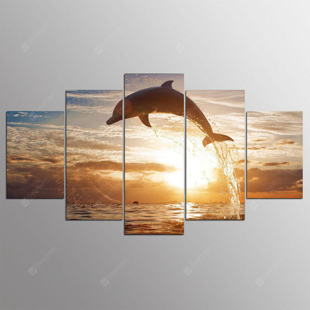 YSDAFEN 5 Piece Dolphin Fish Water Splash Wall Pictures for Living Room Modern Posters