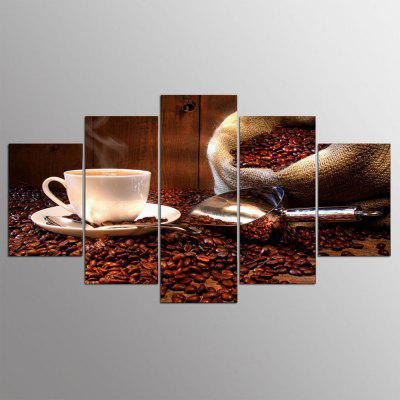 YSDAFEN 5 Piece HD Printed Coffee Bean Wall Pictures for Living Room