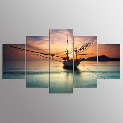 YSDAFEN 5 Panel Modern Late Return Of Fishing Boats Canvas Painting Art Decoracion Picture