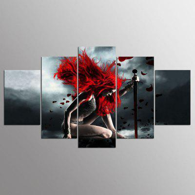 YSDAFEN Sexy Warrior Canvas Painting On The Wall Pictures For Living Room 5 Pcs