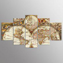 YSDAFEN 5 Pieces Canvas Painting World Map Picture Home Decor for Living Room