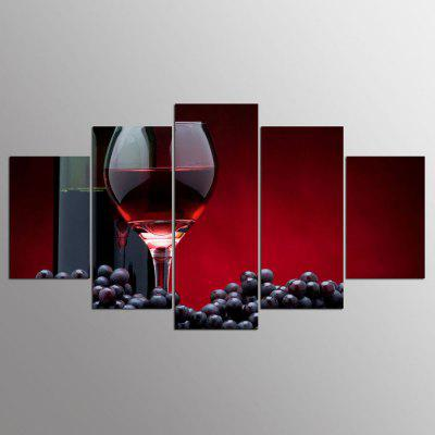 YSDAFEN 5 Pieces Red Wine on Canvas for Home Decoration Wall Art Picture for Living Room