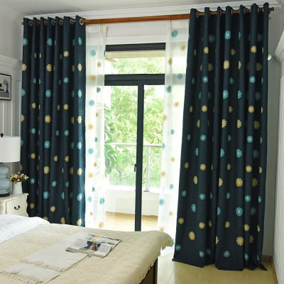 Korean Style Garden living Room Bedroom Embroidery Black Linen Curtains Grommet 2PCS