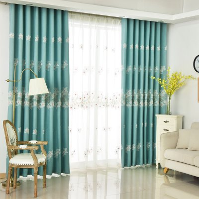 Korean Style Living Room Bedroom Embroidered Curtains Grommet 2PCS