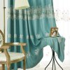 Korean Style Living Room Bedroom Embroidered Curtains Grommet 2PCS - BLUE