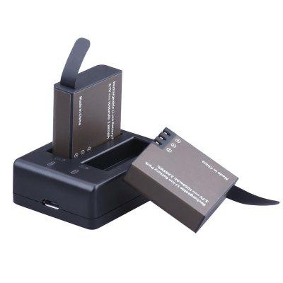 Dual-slot Charging Dock with Two 1050mAh Batteries for Action CameraAction Cameras &amp; Sport DV Accessories<br>Dual-slot Charging Dock with Two 1050mAh Batteries for Action Camera<br><br>Accessory type: Base, Battery, Battery Charger<br>Material: ABS, Plastic<br>Package Contents: 2 x battery ,1 x charge dock<br>Package size (L x W x H): 8.00 x 3.00 x 5.00 cm / 3.15 x 1.18 x 1.97 inches<br>Package weight: 0.0500 kg<br>Waterproof: No