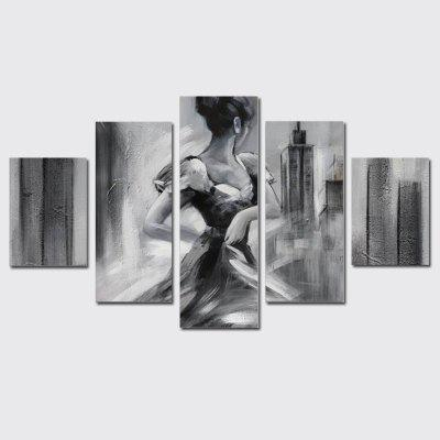 QiaoJiaHuaYuan Frameless Canvas 5Pcs of Sets Painted Gray Abstract Dance Woman Decorative Hanging Print